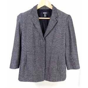 DKNY Black and White Tweed 3/4 Sleeve Blazer 10